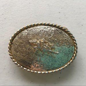 Western Silver Plated Rodeo Belt bucks